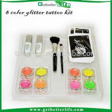8 Getbetterlife tatuagem tinta em pó/2 cosméticos escova/2 corpo cola/20 estêncil, kit de tatuagem de brilho de crianças