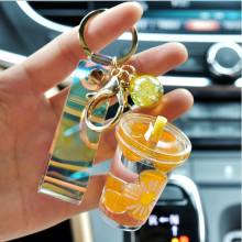 Milk Cup Liquid Keychain