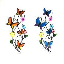 Gorgeous Metal Wall Decoration Dancing on Branch Butterflies for Garden