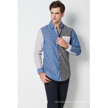 fashion cotton printed contrast long sleeve mens shirts