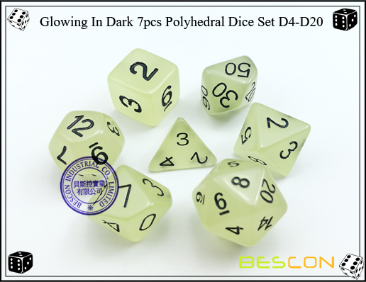 Glowing In Dark 7pcs Polyhedral Dice Set D4-D20
