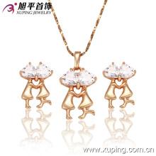 Moda elegante banhado a ouro cz cristal conjunto de jóias de imitação em forma de um casal ou amantes --62402