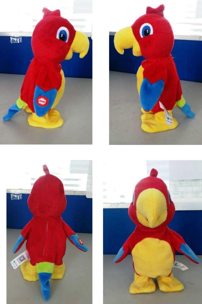 Electric Battery Operated Movable Parrot Plush Toy With Voice Copying And Walking