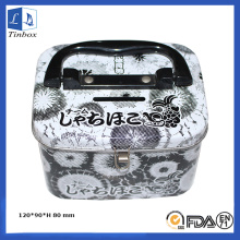 Square Cash Tin Box With Handle Lock