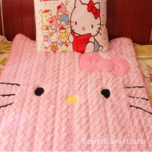 Parure de lit Hello Kitty couverture brodée velours rose