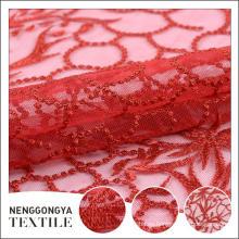 Oem tela de encaje bordado soluble en agua suave con agujeros