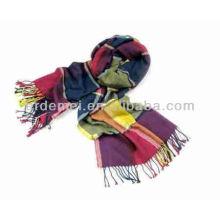 Long acrylic classic velvet burnout scarf