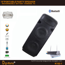 15′′*2 Mobile Party DJ Outdoor Karaoke Trolley Bluetooth Active Speaker