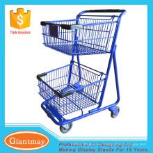 almacena el carrito de la compra con 2 niveles para transportar las frutas