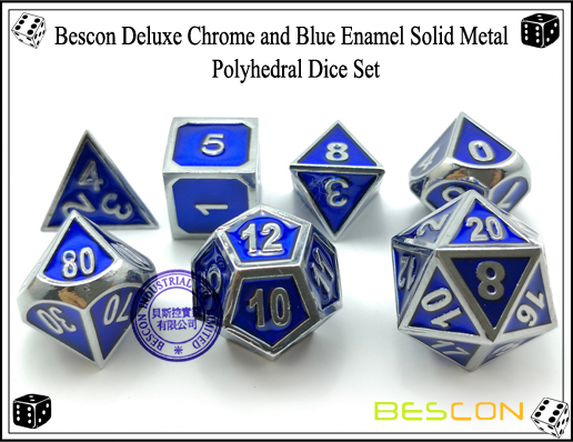 Bescon Deluxe Chrome and Blue Enamel Solid Metal Polyhedral Role Playing RPG Game Dice Set (7 Die in Pack)-5