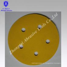Disco de lijado amarillo con agujero redondo de papel importado recubierto 5