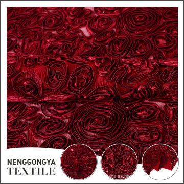 Bordado de cinta de seda floral de poliéster hermoso al por mayor para el vestido