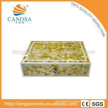 Beautiful Handmade Golden MOP Zigzag Storage Box for Luxury Hotel