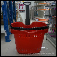 42L Hot Sale Factory Sale Direct Apple Type Trolley Basket with Four Wheel