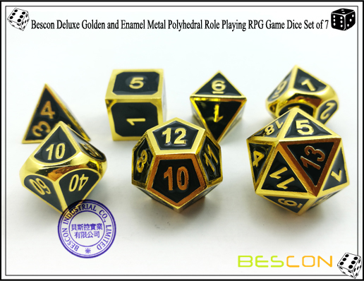 Bescon New Style Deluxe Golden and Enamel Solid Metal Polyhedral Role Playing RPG Game Dice Set (7 Die in Pack)-5