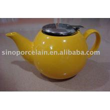 Pote de té de cerámica con tapa de metal para BS12031