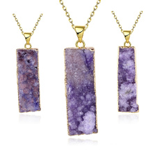 Fashion Jewelry Natural Purplre Rectangle Crystal Pendant Gold Necklace