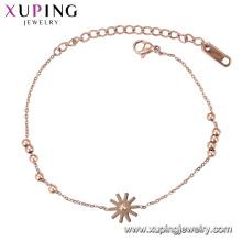 Pulseira-137 Xuping imitação de jóias rosa cor de ouro design mulheres charme pulseira