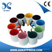 11OZ Сублимационные заготовки керамическая кружка с colorfol внутренним и ручкой