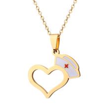 Custom Enamel Open Heart Nurse Pendant Necklace Jewelry