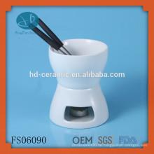 Kleines, einfaches Keramik-Fondue-Set, einfarbiges Keramik-Schokoladen-Fondue-Set für zwei, FDA, CE / EU, SGS-Zertifizierung und Fondue Set