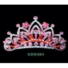 Coroa de luxo coroas de plástico e tiaras coroa pinos tiara rosa