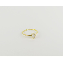 Fashion 925 sterling silver gold-plated diamond drop-shaped ring wedding love zircon