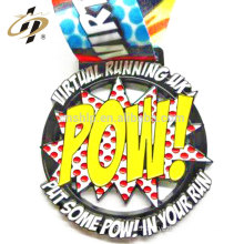 Hot 2D design custom POW metal sports running medal with ribbon