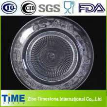 Round Embossed Glass Fruit Plate (GP001)