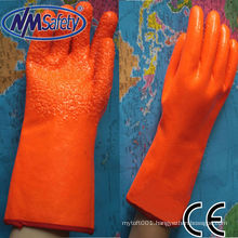 NMSAFETY foam insulated liner coated orange fluorescent pvc glove
