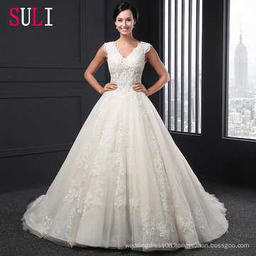 SL-022 High Quality A-Line Tulle Lace Appliques 2016 Alibaba Wedding Dress