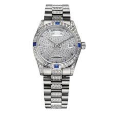 Полный камень роскошные наручные часы для мужчин и женщина