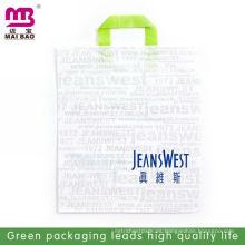 Bolsas de reciclaje de plástico impresas a medida con asa para colgar la ropa