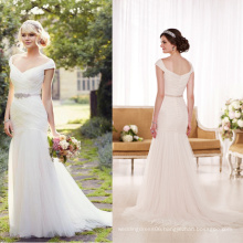 WD9274 ruffle tulle skirt wedding gown off shoulder crystals emblishment gathered sweetheart soft tulle wedding dress