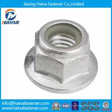 Tuerca de brida de nylon de acero al carbono zincado DIN6926