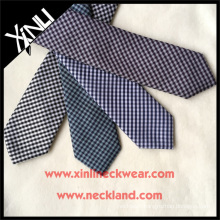 Hot Sale Check Jacquard Cheap Custom Slim Polyester Tie