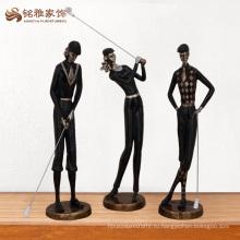 Оптовая украшение забавный черный гольф полистоуна фигурки для коллекционирования