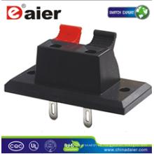 Daier WP2-3 L = 34.9mm Conector de terminal de cable con clip rojo y negro 2P