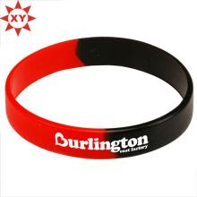 Taille de bracelet de silicium noir et rouge pour les adultes