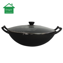 Chinese Traditional Cast Iron Wok with Double Handle