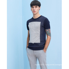 Wholesale Patterned Round Neck Fit Short Sleeve Men Sweater