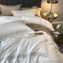 Apartment Simple Style Embroidered Bed Sheet Set Smooth White Twin Bed