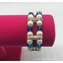 Double Row Glass Pearl Beads Diamond Bracelet (XBL13555)