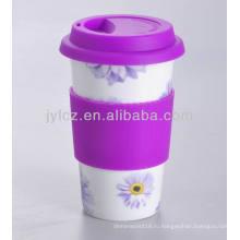 фарфор кружка кофе с силиконовой крышкой