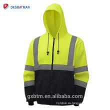 Venta al por mayor ANSI clase 3 de alta calidad de dos tonos chaqueta de seguridad inferior negro Amarillo alta visibilidad sudaderas con capucha