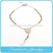 TKB-B0085 Client Conception En Acier Inoxydable Argent Jaune Or Deux Tons Perles Religieux Croix Chapelet Vierge Marie Charme Bracelet