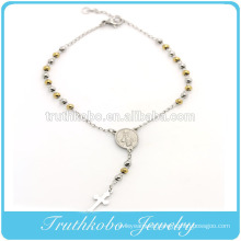TKB-B0085 Customer Design Stainless Steel Silver Yellow Gold Two-Tone Beads Religious Cross Rosary Virgin Mary Charm Bracelet