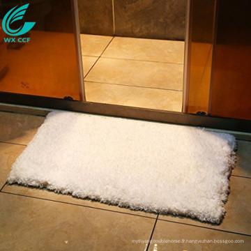 Tapis de bain de tapis de salle de bain de microfibre de non-glissement blanc de 20x32 pouces