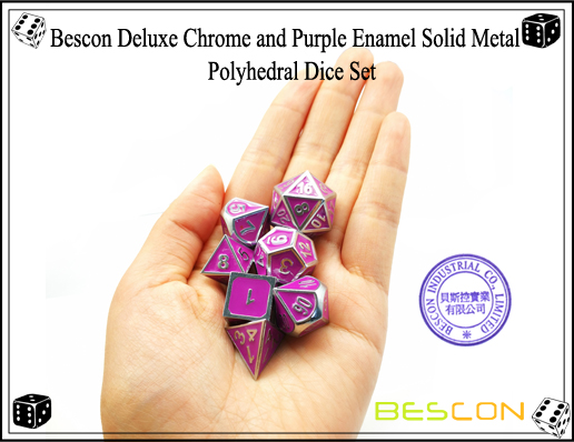Bescon Deluxe Chrome and Purple Enamel Solid Metal Polyhedral Role Playing RPG Game Dice Set (7 Die in Pack)-7