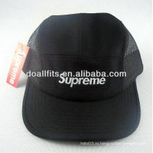 Пользовательские 100% хлопок Мода Черная аппликация 5 панели шляпу